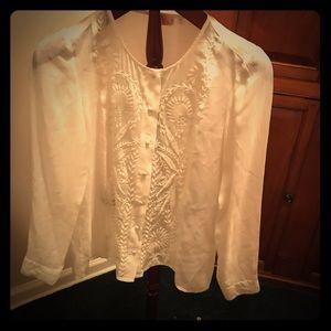 J Jill timeless cream sheer blouse